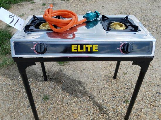 Elite Propane Double Burner Stove & Stand