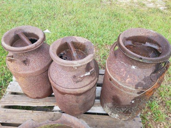 (3) Antique Milk Cans