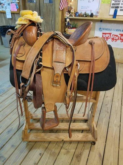 "New 17"" Simco Saddle W/ Saddle Rack On Wheels"