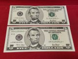 (2) $5 Green Label Replacement Bills