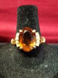 14k Gold Electroplate Citrine W/ Diamond Accent