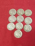 (10) Assorted Full Date Buffalo Nickels
