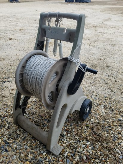 1,282 Feet Of Electric Fence Rope On Cart W/ 3