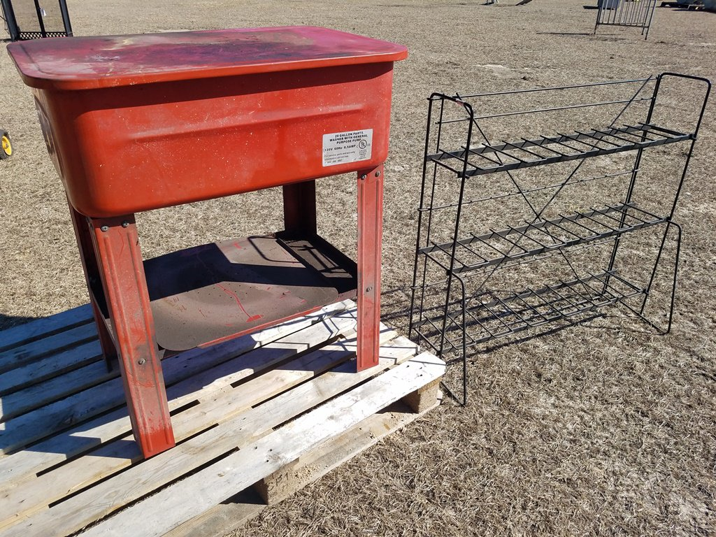 20gal Part Washer WORKS & Metal Battery Rack