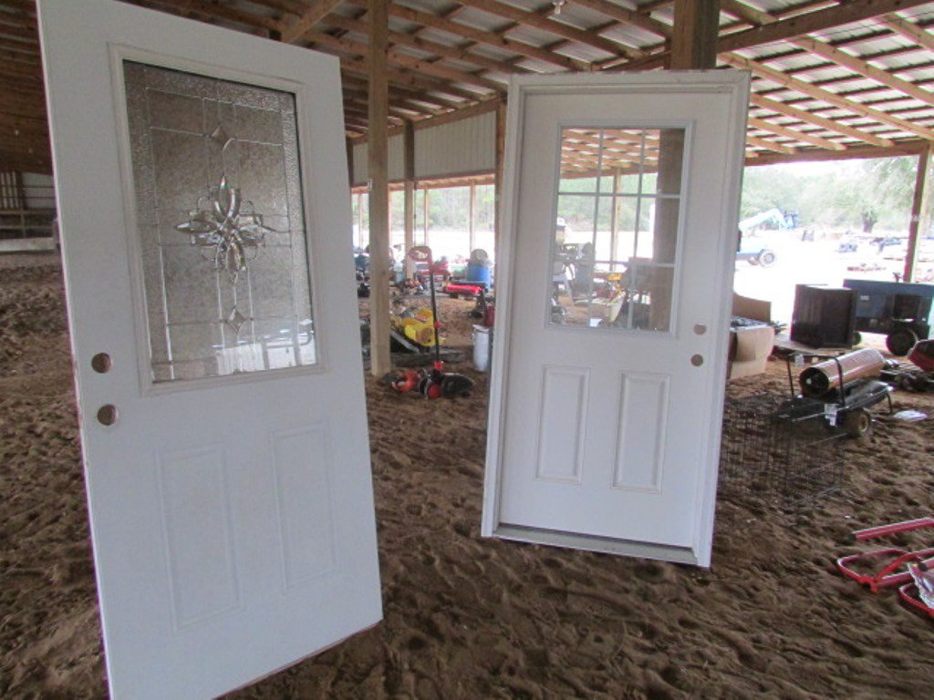 (2) Entry Door 1 With Casing Both Have Glass Panes