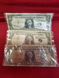 1957 & (2) 1957-B $1 Silver Certificate Notes