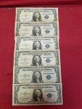 (6) 1935-A,B,C,D,E & F $1 Silver Certificate Notes