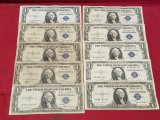(4)1935-A & (6)1935-D $1 Silver Certificate Notes
