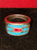 Men's Turquoise / Red Ring