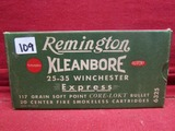 (20) Remington Kleanbore 25-35 Winchester Cartridg