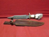 Damascus Steel Stag Knife w/ Leather Sheath