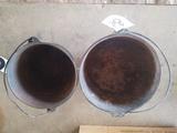 (2) Cast Iron Pots