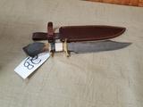 Damascus Steel Stag Knife w/ Leather Sheath