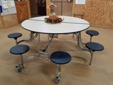 Round Cafeteria Tables W/ 8 Seats