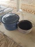 Vintage Stock Pot & Cast Iron Pot W/ Basket