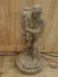 Concrete Military Man Statue