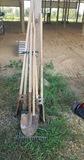(2) Post Hole Diggers, Iron Rake & Shovel