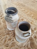 (2) Antique Metal Milk Cans
