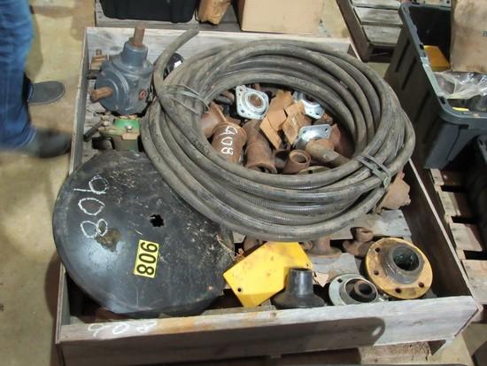 Pallet of Misc parts - disc parts, gear boxes