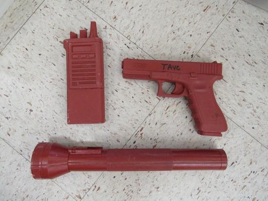 ASP GUN, FLASHLIGHT, RADIO FOR TACTICAL TRAINING