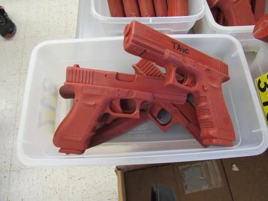 2 RUBBER TRAINING GUNS & 2 KNIVES