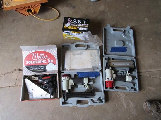 2 nail guns, paint gun, soldering gun