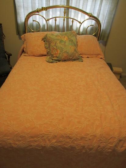 Brass headboard, bedframe & bedding set