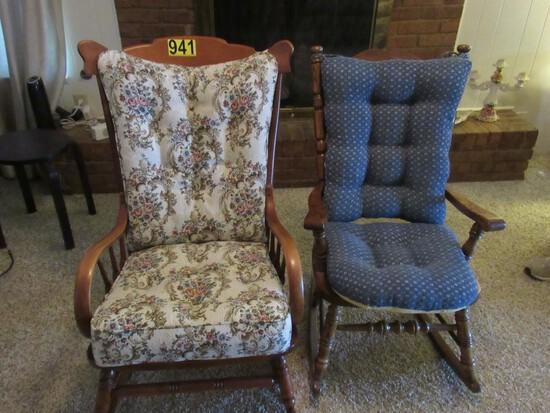 2 Rocking chairs w/cushions