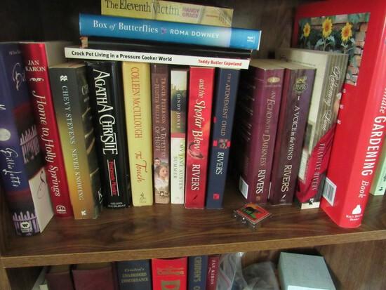 Bookshelf w/books, vhs & cd's