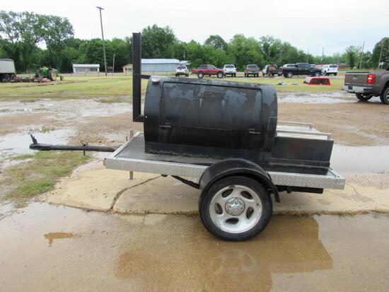 Smoker BBQ pit on wheels