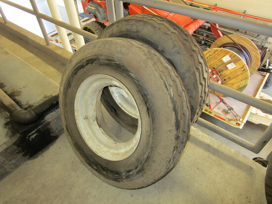 "Pair of mobile home tires/rims, 12 ply, 8/14.5, 10/32"" tread"
