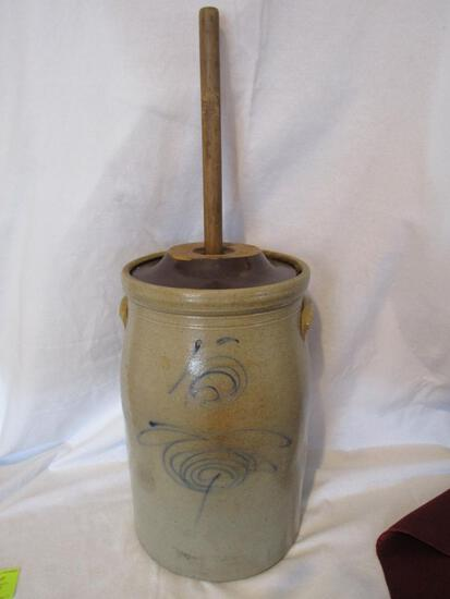 Red Wing Salt Glazed 5 Gal. Lazy 8 Target Butter Churn With Elephant Ears,