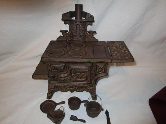 Crescent Cast Salesman Sample Stove With Accessories