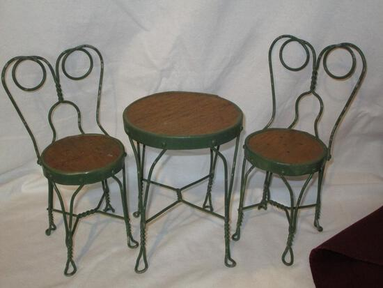 Doll Ice Cream Parlor Table/2chairs, Metal With Wood Top