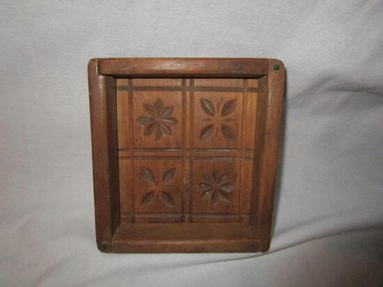 Vintage Wooden Dove Tailed Butter Mold, 4 Square With Brass Locks