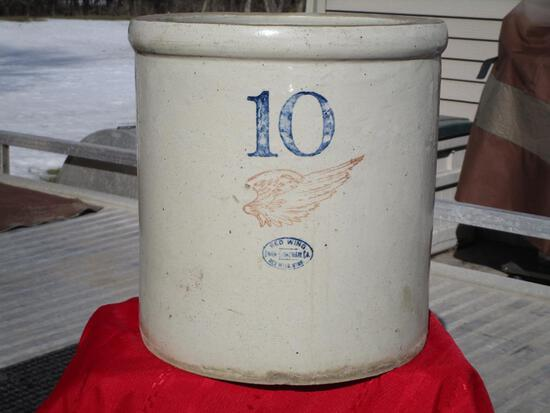 Red Wing 10 Gal. Large Wing, Red Wing Union Oval, (chip/base, Hairline On L