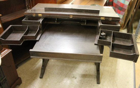 Antique Fold Out Spinet Desk By F. Schimmel - Furniture - Antique Fold Out Spinet Desk B... Auctions Online Proxibid