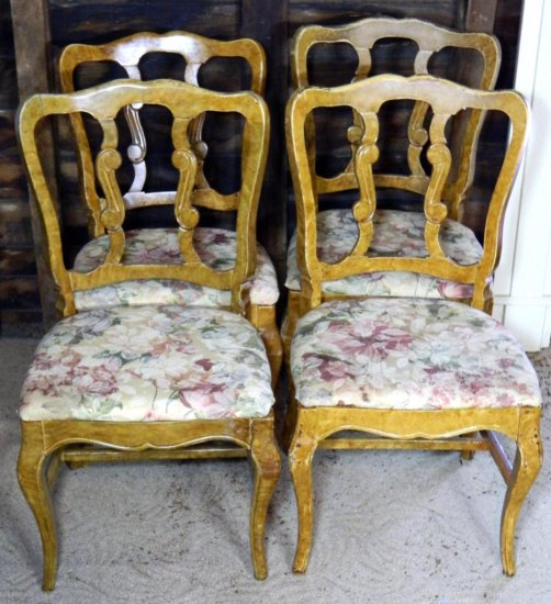 Set of Four (4) Floral Upholstered Side Chairs, Ebert Furniture, 1956