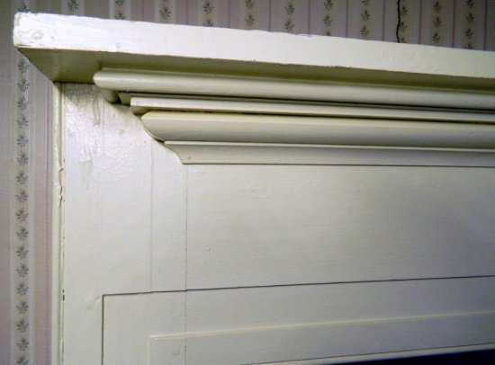 Antique White Wooden Mantel
