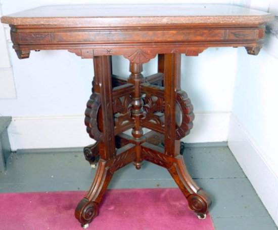 Antique Eastlake Victorian Walnut Marble Top Parlor Side Table c.1890