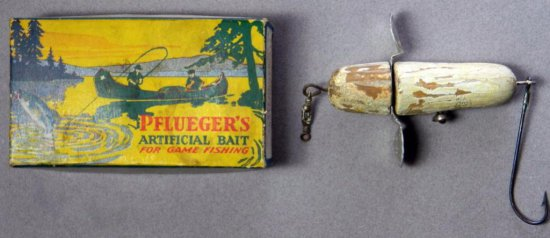 Vintage Pflueger's Artificial Bait For Game Fishing Lure and Box