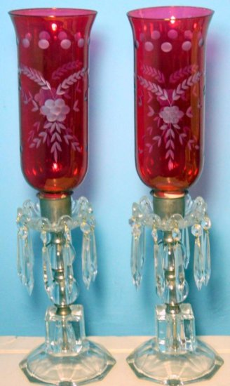 Cranberry Glass Hurricane Luster Lamps, with All Crystal Prisms