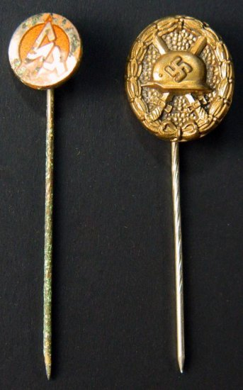SA German WWII Stickpin and WWII Gilt Wound Badge Stickpin