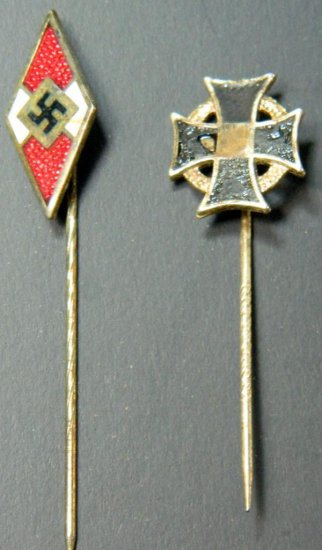 Grouping of Two German Stickpins, HJ and Iron Cross