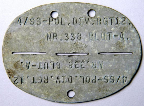 German WW2 Identity Disc Tag, SS-Pol. Div.