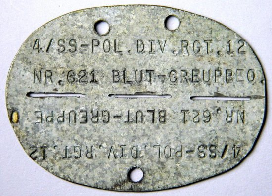 SS Police Division Identity Disc Tag, SS-Pol. Div.