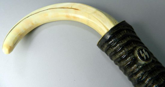 Antelope Antler and Boar Tusk German SS Walking Cane