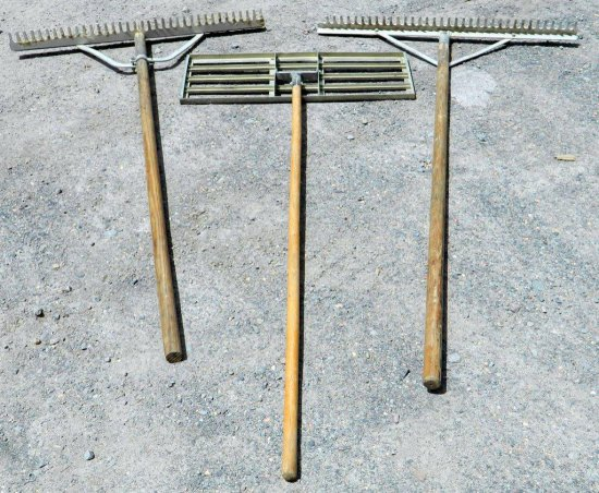 Lot of Two Sand Trap and Bunker Maintenance Rakes and One Acculeveler