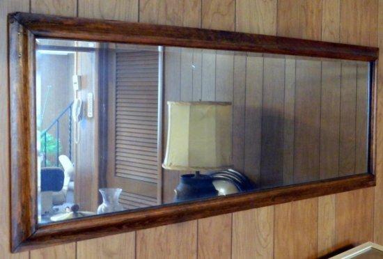 Horizontal Wood Framed Beveled Glass Mirror