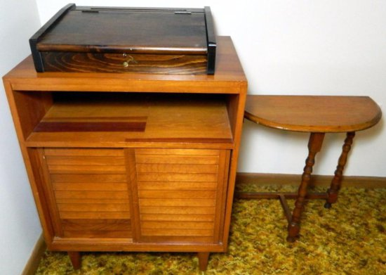 Grouping of Furniture - Desktop Flip-top, Petite Side Table, Sliding Storage Cabinet